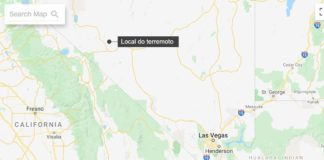Local do terremoto que atingiu Nevada, nos Estados Unidos