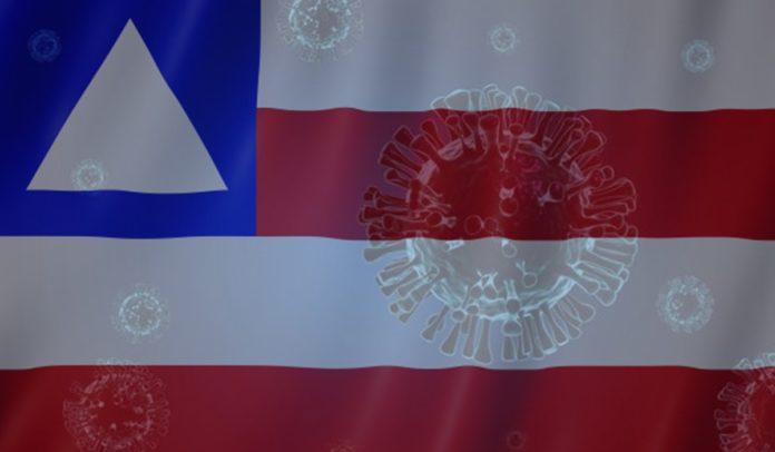 Bandeira da Bahia com representações do novo coronavírus