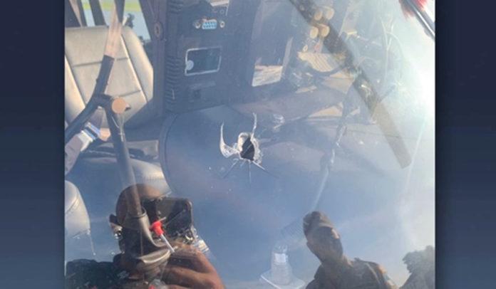 Tiro em painel de helicóptero da TV Record