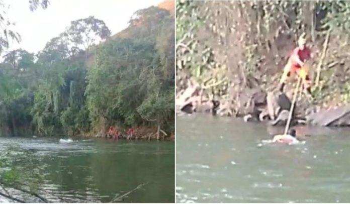 Homem agride a própria mãe e se joga em rio para tentar fugir da polícia em MG